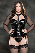 Fishnet And Faux Leather Corset
