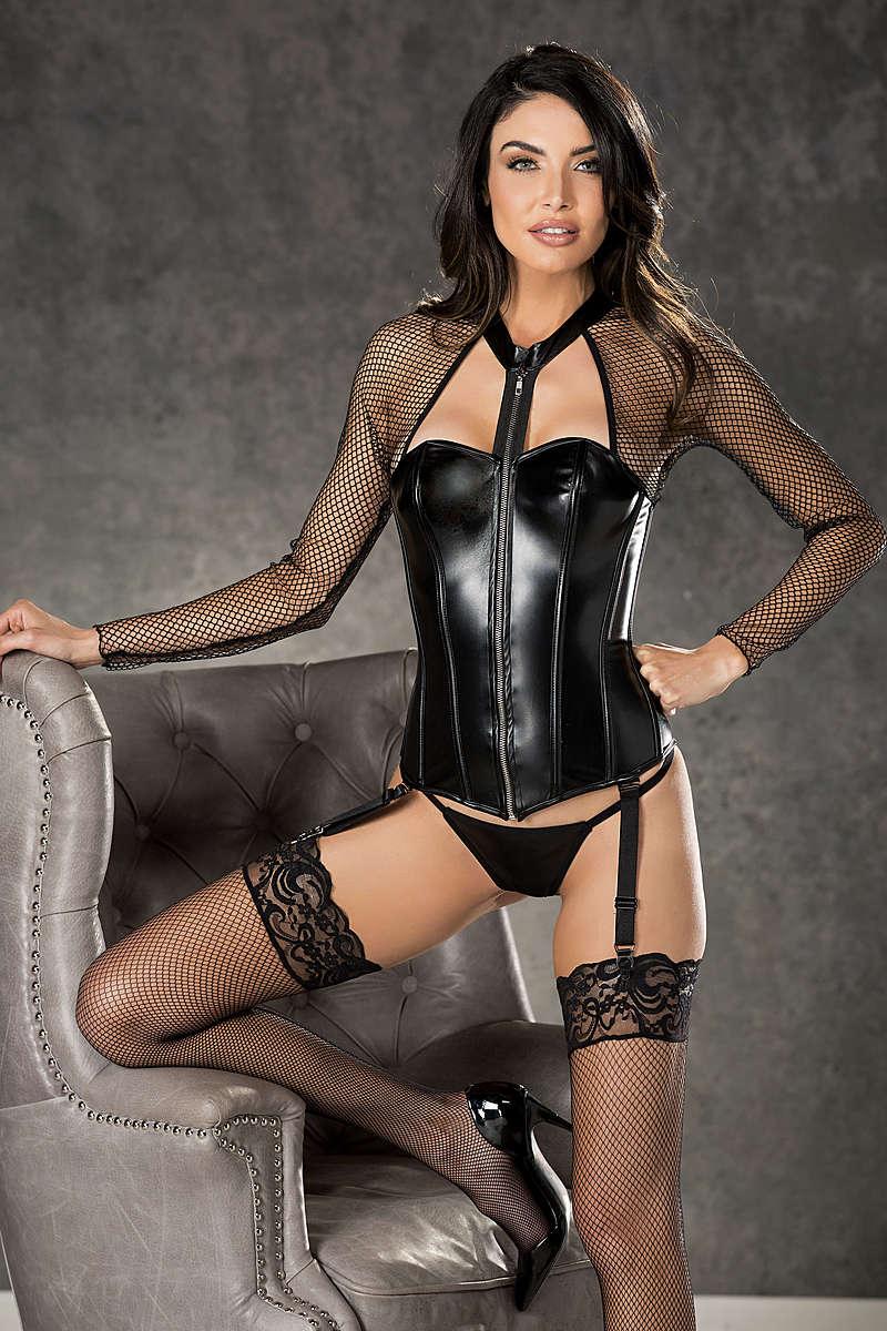 Fishnet & Faux Leather Corset