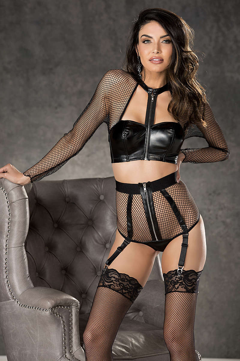 Fisnet & Faux Leather High Waisted Panty