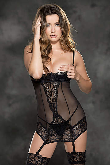 Stretch Lace & Mesh Shelf Cup Chemise