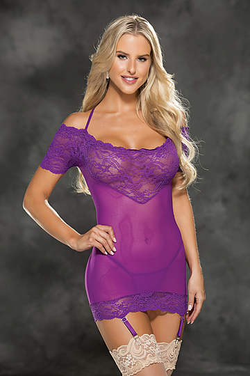 Stretch Lace Band Gartered Chemise