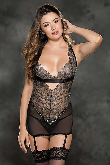 Two Tone Stretch Lace Gartered Chemise
