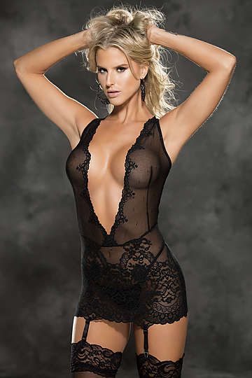 Stretch Lace Patterned Chemise