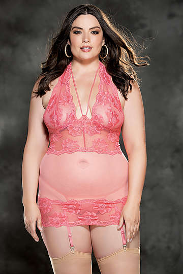 Plus Size Floral Stretch Lace & Mesh Gartered Chemise