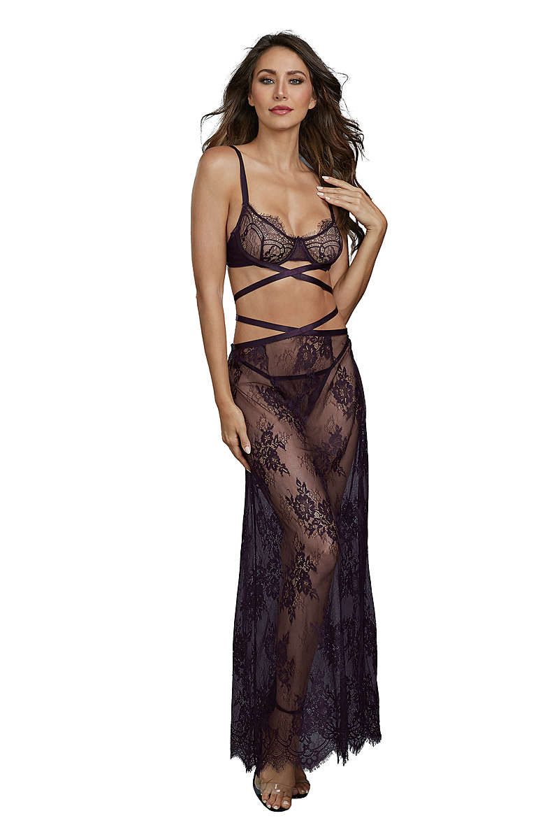 Eyelash Lace Bra, Panty & Long Skirt Set