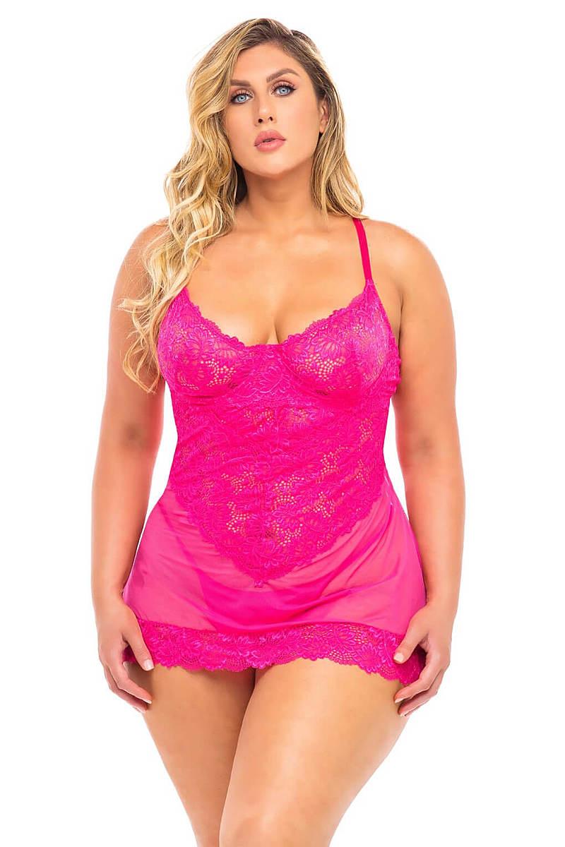 Paige Plus Size Lace Cup Babydoll