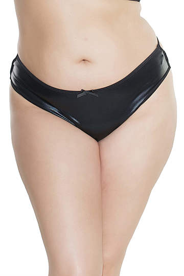 Plus Size Wet Look Strappy Thong