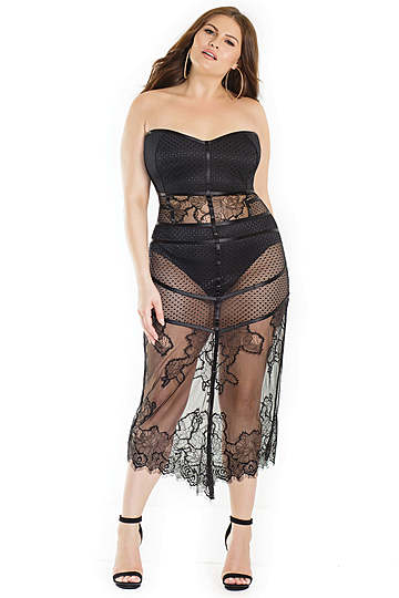 Plus Size Stylish Dress & Panty Set