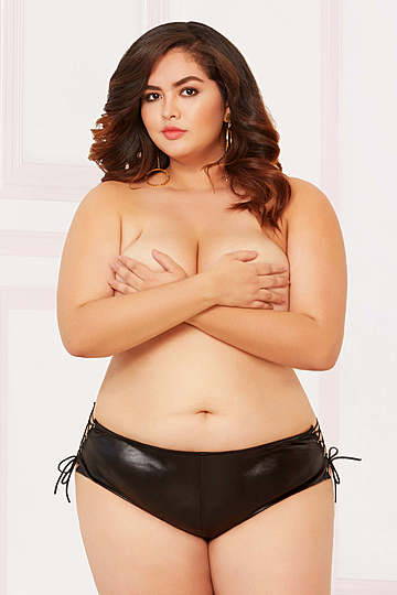 Plus Size Lamé Open Crotch Boyshort