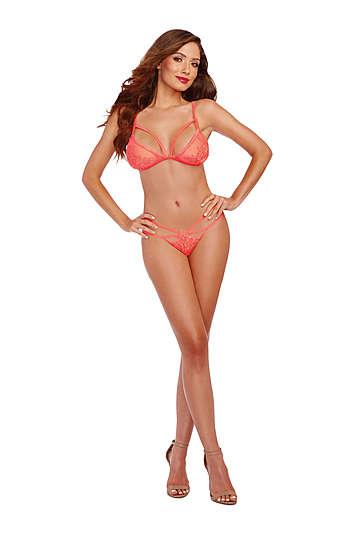 Sexy Coral Bralette & Panty Set