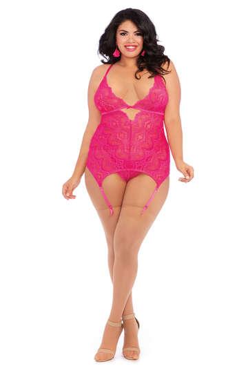 Plus Size Pinkilicious Garter Slip
