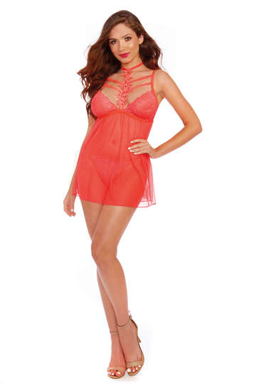 Lovely Coral Stretch Mesh Babydoll