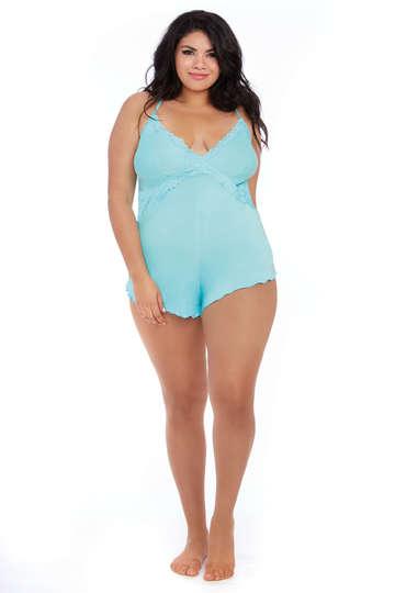 Plus Size Vibrant Aqua Stretch Jersey Romper