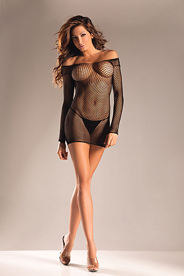 Long Sleeve Fishnet Dress
