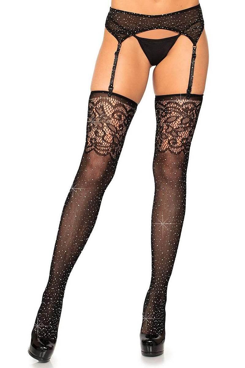 Rhinestone Lace Top Fishnet Stockings