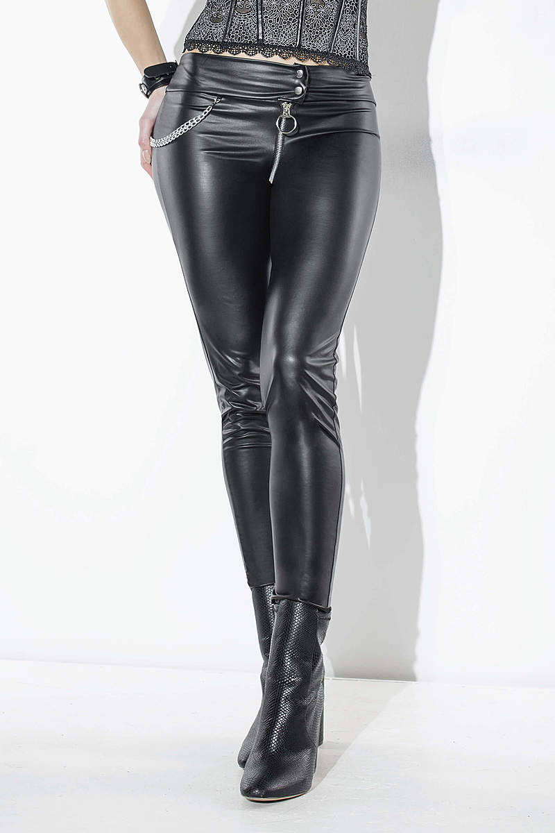 High Waist Wet Look Pants