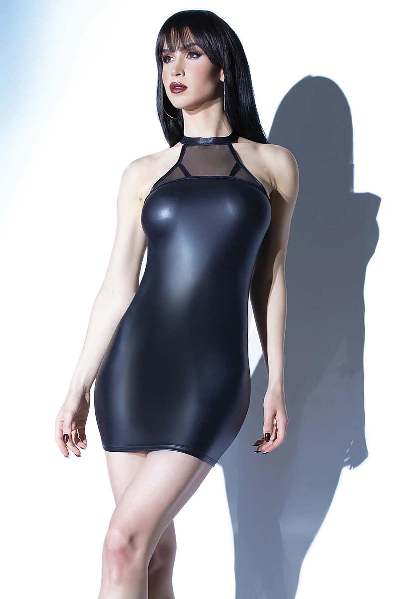 Wet Look Halter Neck Dress