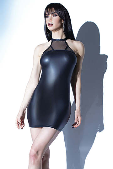 Wet Look Halter Neck Dress