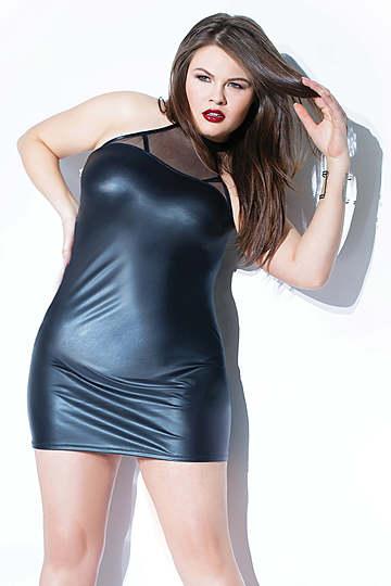 Plus Size Wet Look Halter Neck Dress