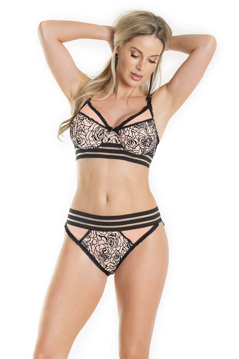 Flocked Floral Print Bra & Panty Set