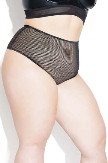Plus Size High Waist Fishnet Panty