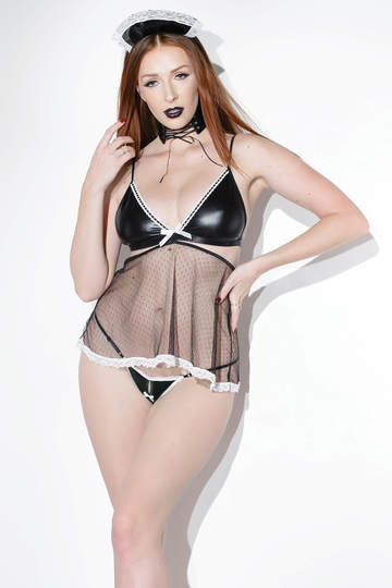 Wet Look French Maid Babydoll Set