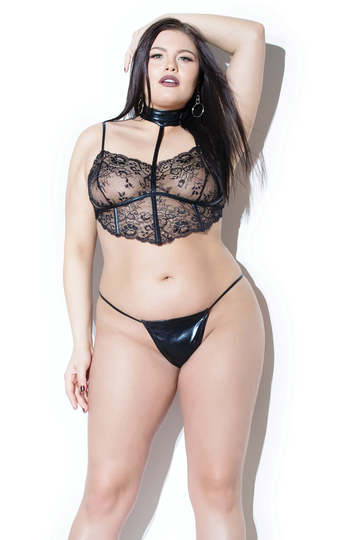 Domination Plus Size Bra Top & G-String Set