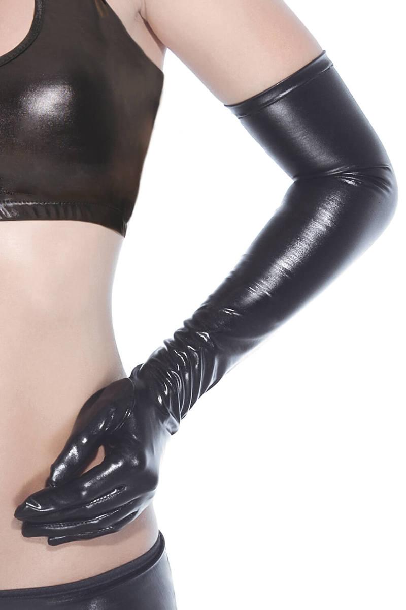 Black Wetlook Gloves