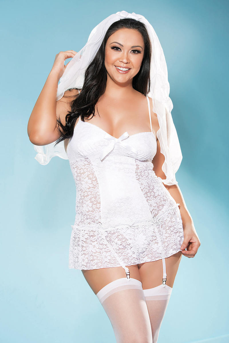 Plus Size Beautiful Bride Lingerie Set