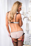 Black & White Mesh Padded Bra & Panty Set