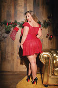 Stretch Lace Holiday Plus Size Babydoll & G-String