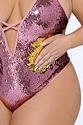 Glam Squad Two-Tone Sequin Plus Size Teddy