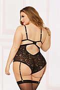 Zip Me Up Plus Size Floral Lace Teddy