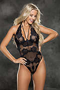 Floral Stretch Lace & Mesh Teddy