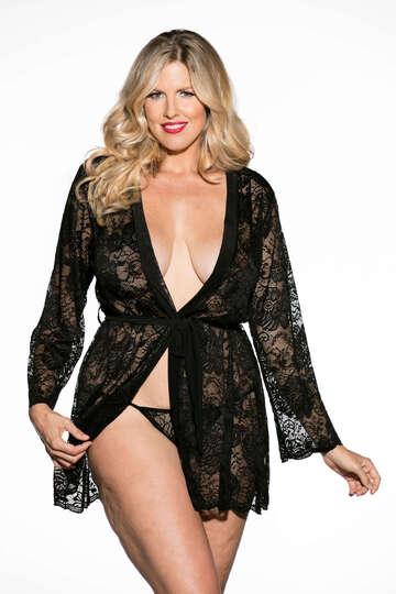 Plus Size Beautiful Stretch Lace Long Sleeve Robe