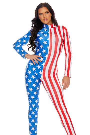 Stars & Stripes Zipfront Jumpsuit
