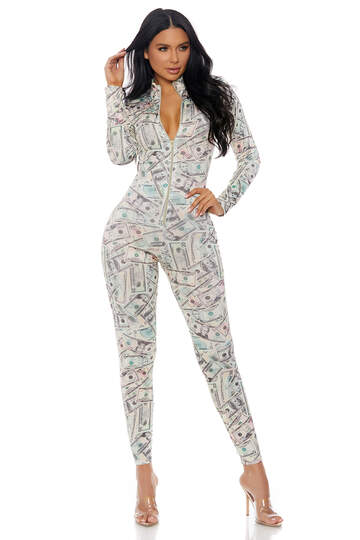 Printing Money Zipper Front Catsuit