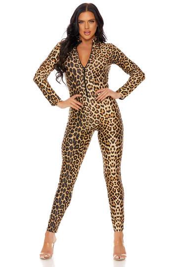 Leopard Zipper Front Catsuit