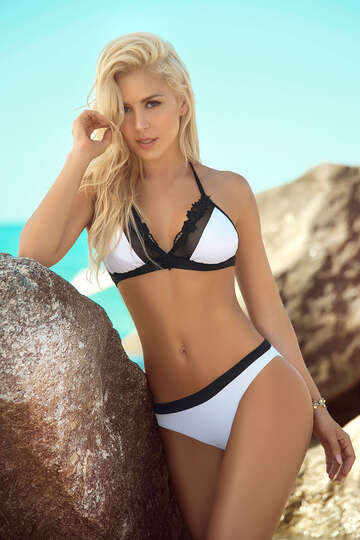 Two Tone Triangle Bikini Swimsuit