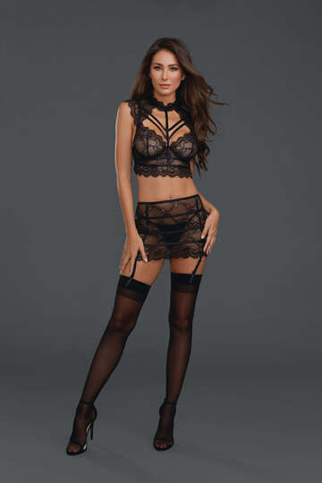 Etched in Lace Bustier & Garter Skirt Set