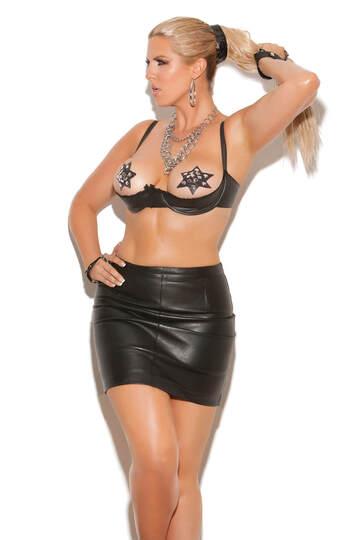 Plus Size Leather Underwire Shelf Bra