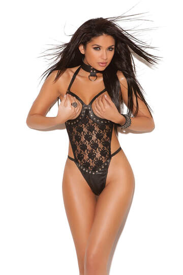 Lavish Lace & Leather Open Cup Teddy