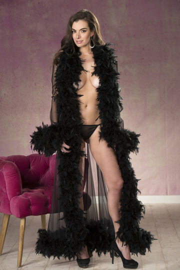 Long Tricot & Chandelle Feather Robe