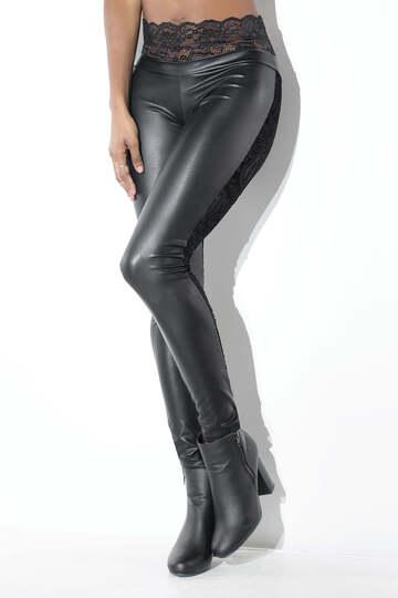 Velvet Back Wet Look Pants