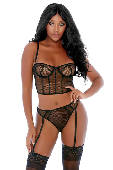 Can't Be Caged Net Bustier Set
