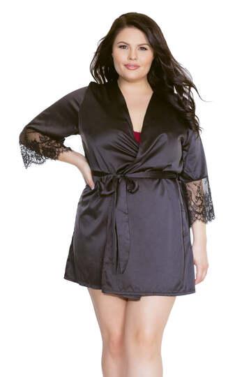 Plus Size Stretch Satin & Eyelash Lace Robe