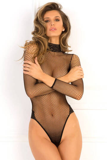 High Demand Lace Neck Fishnet Bodysuit