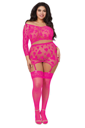 Plus Size Meshed Heart Lingerie Set