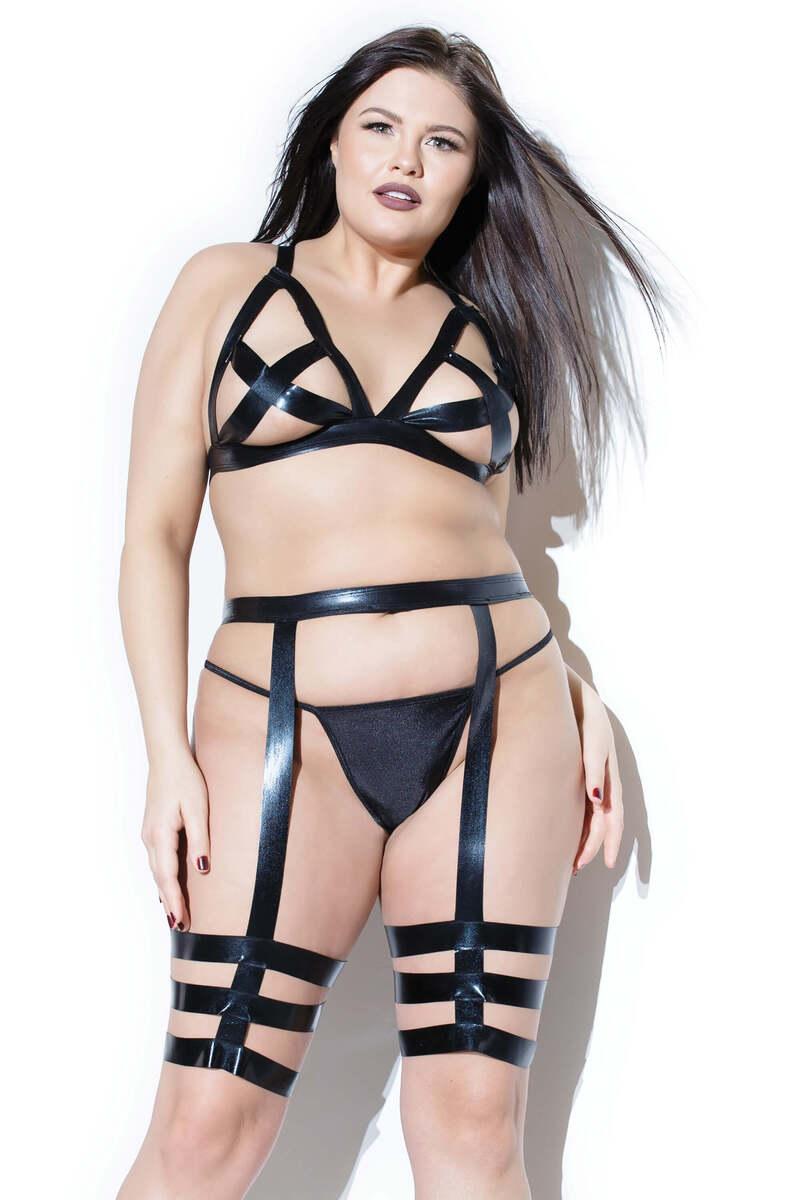 Darque Plus Size Bra Top & Leg Harness Set