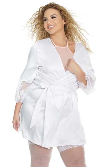 Plus Size Stretch Satin Robe
